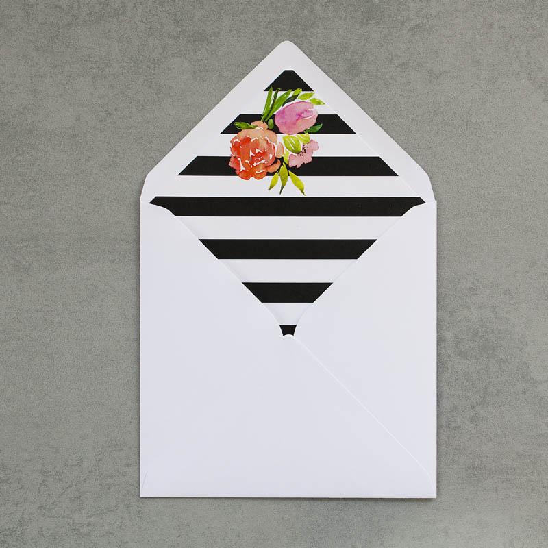 koperta z wkładką ślubną paski