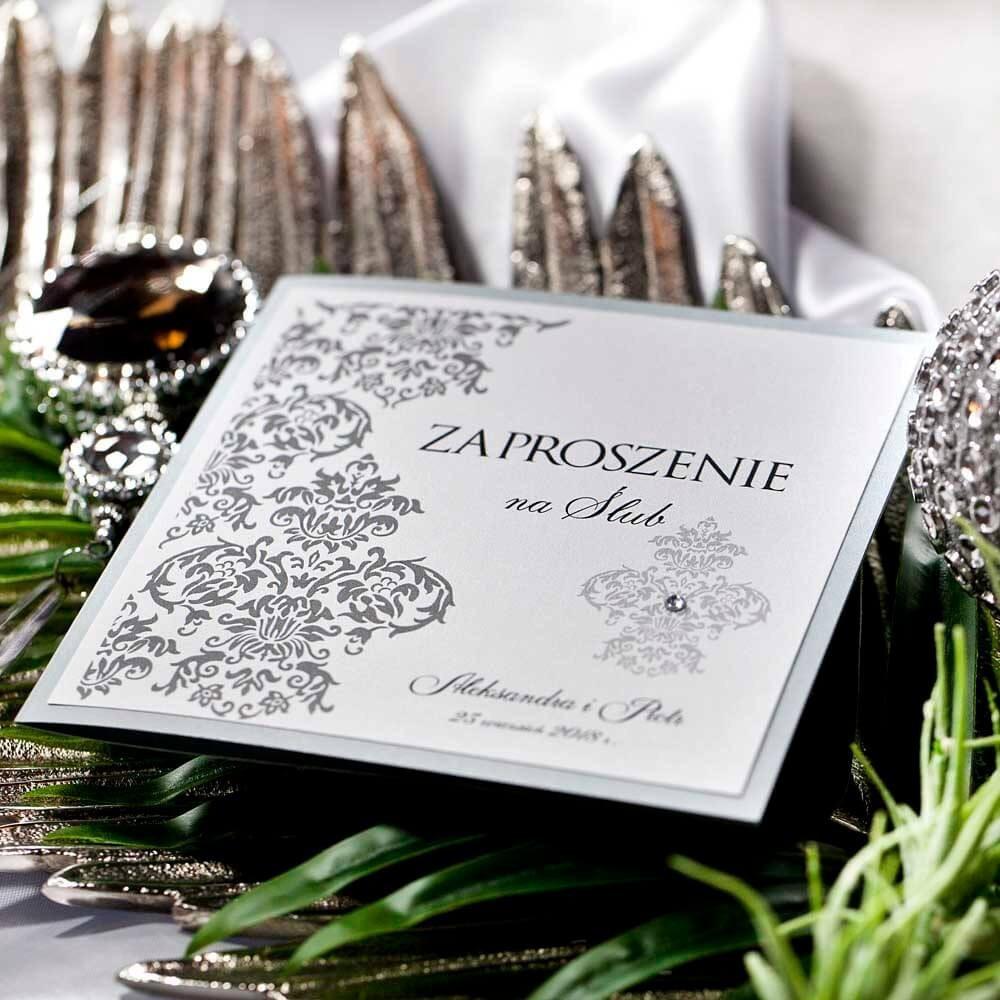 Ręcznie klejone zaproszenie na ślub z cyrkonią, kolor srebrny metalizowany