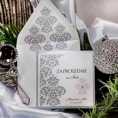 Zaproszenia ślubne Silver & White