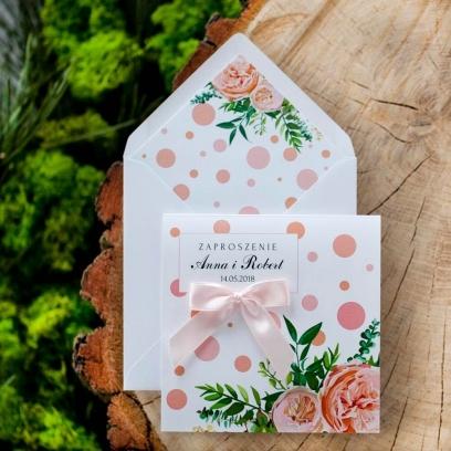 Zaproszenia Wesołe Kropki brzoskwiniowy róż