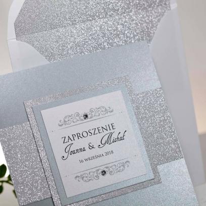Zaproszenia ślubne Lady Brokat srebrne
