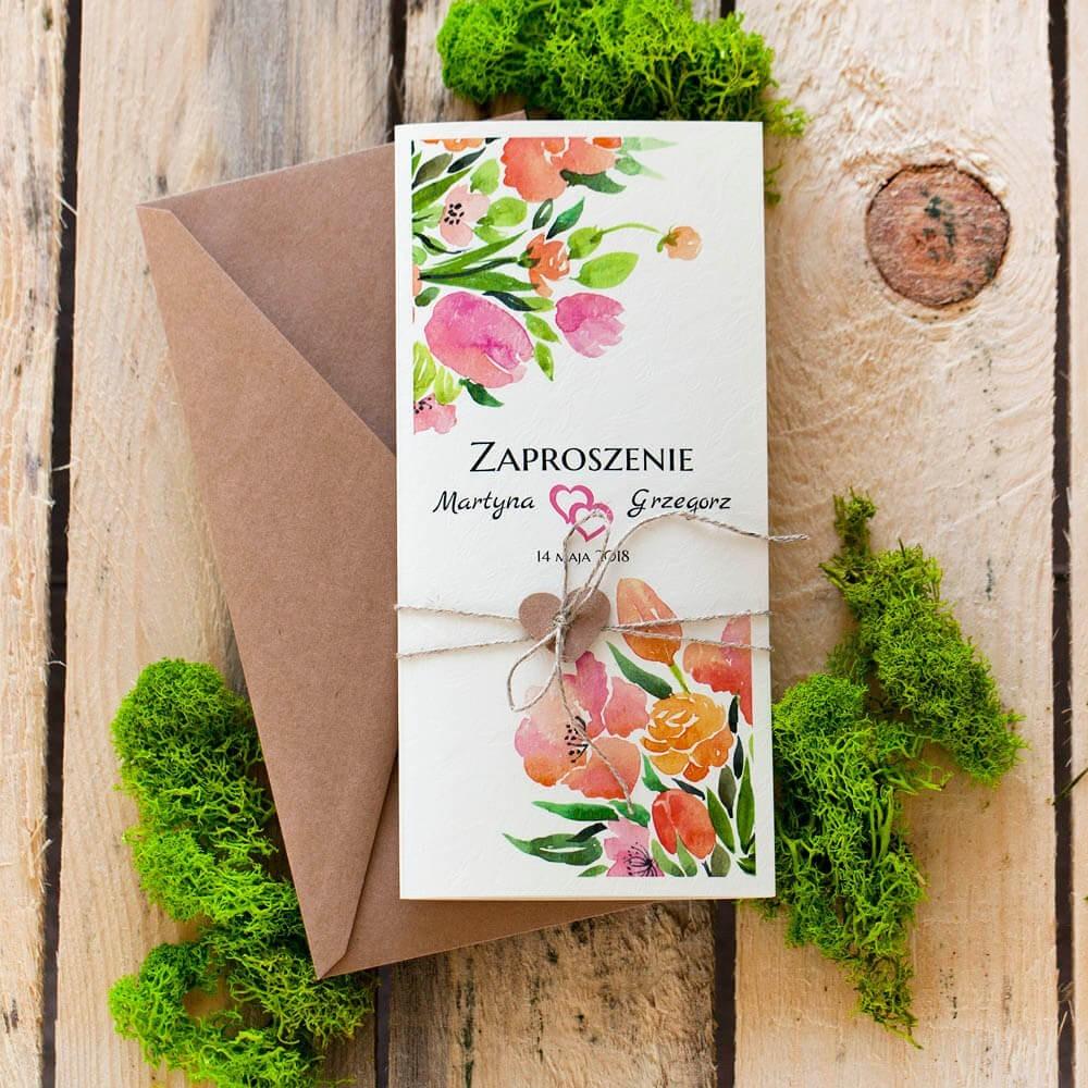 Zaproszenie weselne w formacie DL z kolorowymi kwiatami