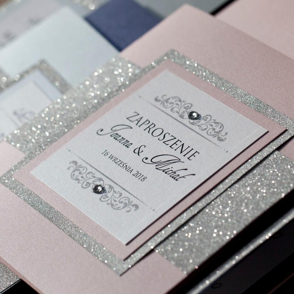 Zaproszenie ślubne w stylu glamour z brokatem