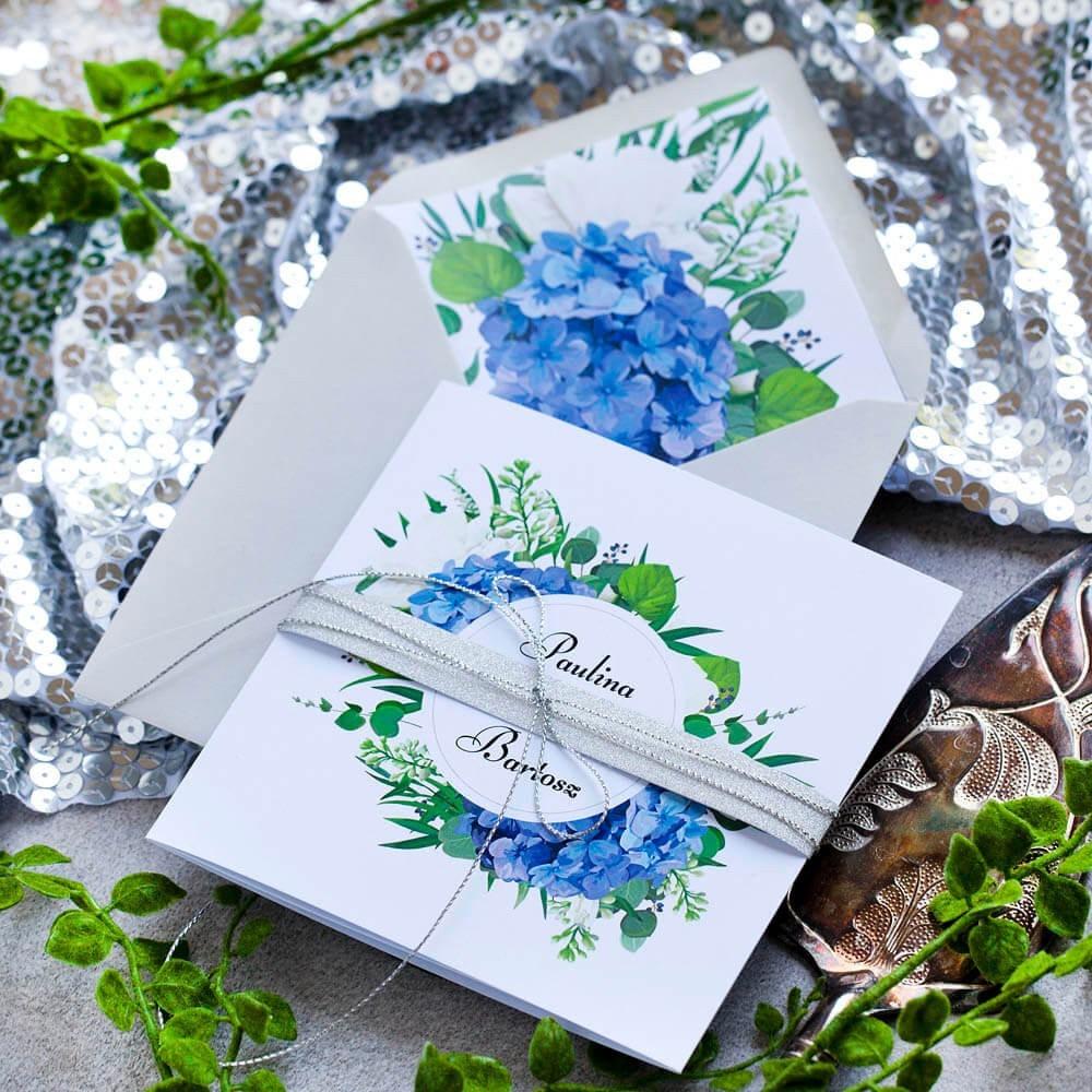Kwiatowe zaproszenia weselne z hortensją