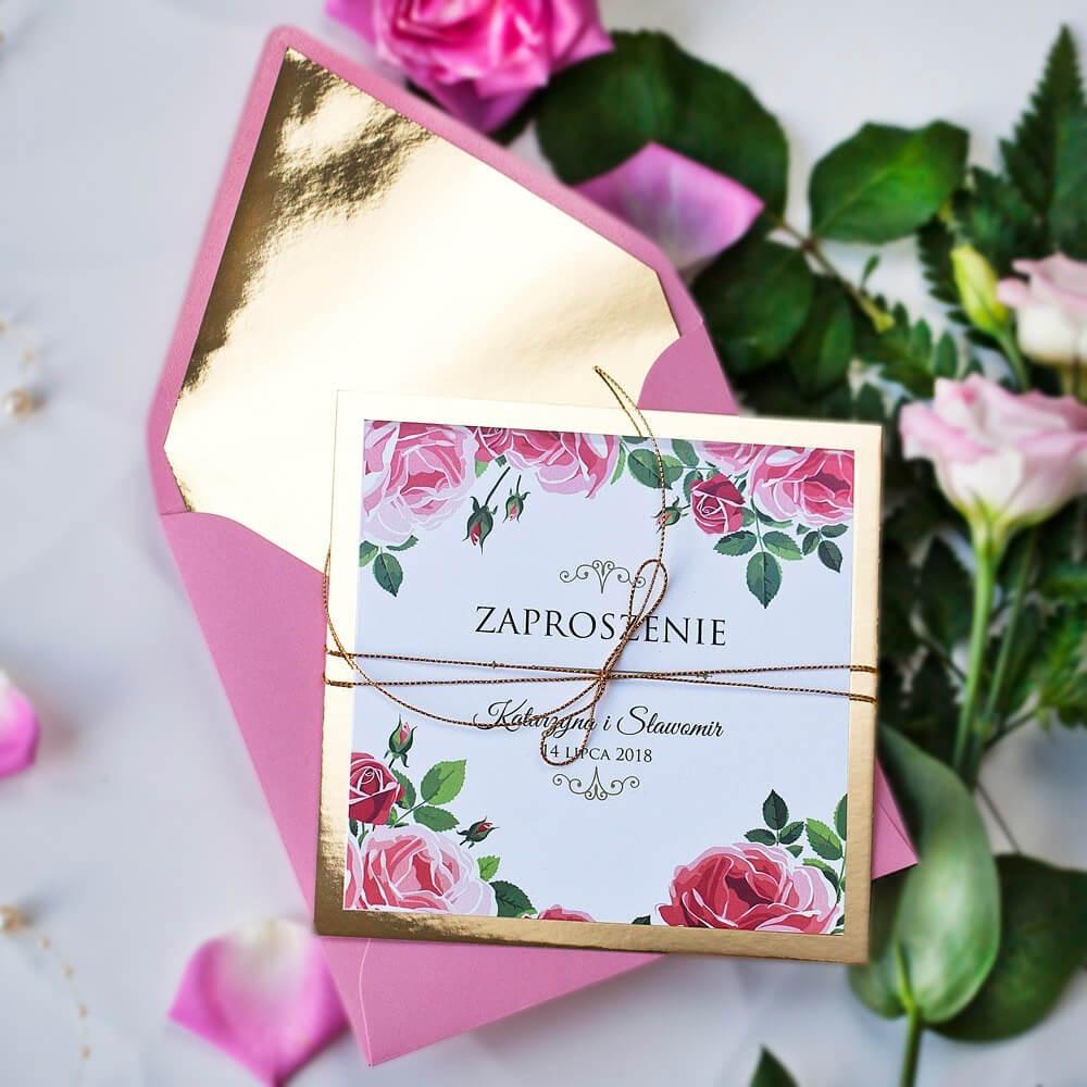 Zaproszenie na ślub z różami złote na papierze lustrzanym