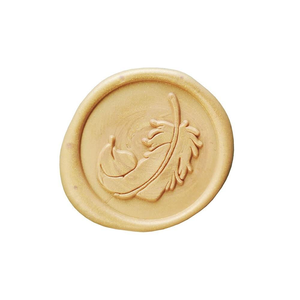 Pieczęć lakowa złota z piórkiem