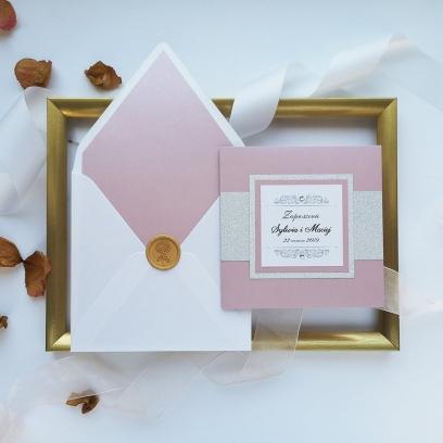 Zaproszenia ślubne Lady Brokat wrzosowe