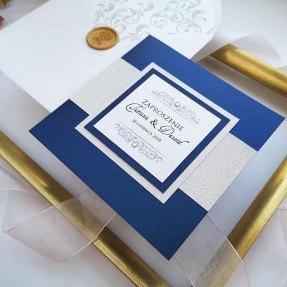 Zaproszenia ślubne Lady Brokat granatowe