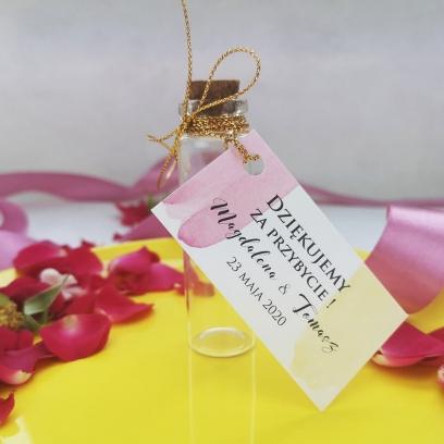 Buteleczka szklana z bilecikiem Pink & Lemon