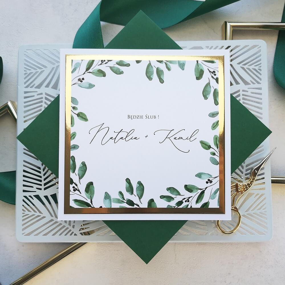 Eleganckie zaproszenie ślubne z botanicznym motywem