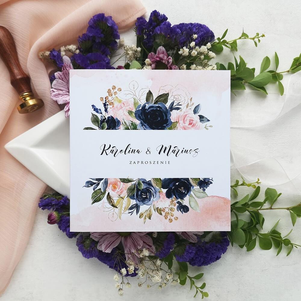 Kwiatowe zaproszenia na ślub piwonie i róże
