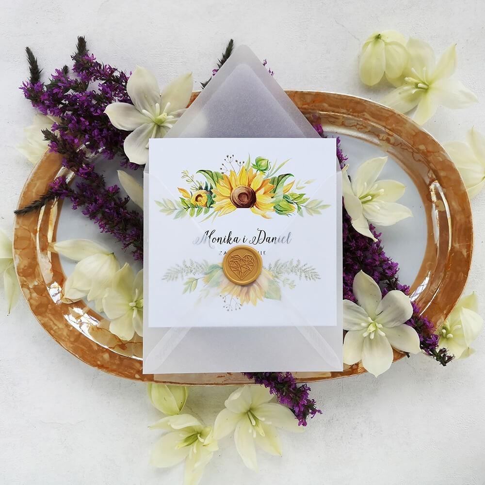 Zaproszenie słoneczniki w kopercie transparentnej przeźroczystej