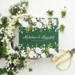 Zaproszenia ślubne w kolorze butelkowej zieleni z białymi różami
