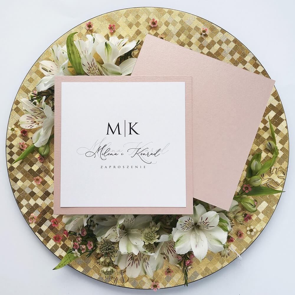 Minimalistyczne zaproszenie na ślub wykonane ręcznie