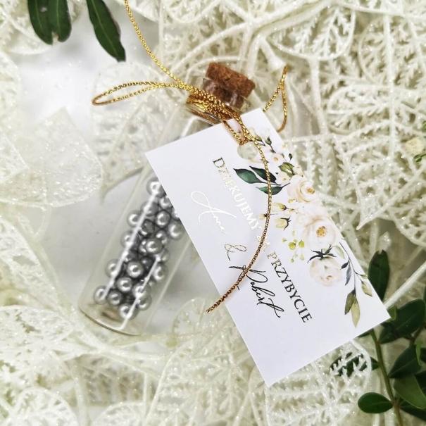 Buteleczka szklana z bilecikiem Złocone Serce