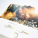 Zaproszenia ślubne ze zdjęciem 3 złocone