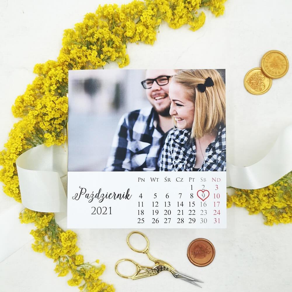Zaproszenie ze zdjęciem i kalendarzem, data jesienna