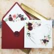 Zaproszenia ślubne Geometryczne Serce Bordowe