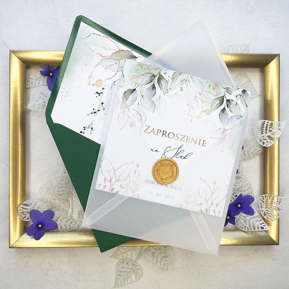 Personalizowane zaproszenie ślubne z piękną grafiką
