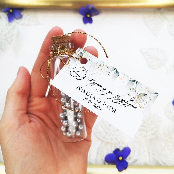 Buteleczka z bilecikiem Delikatne Liscie