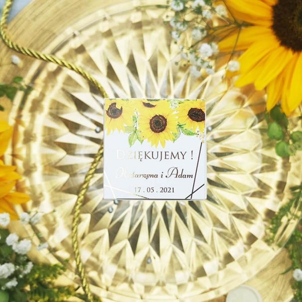 Pudełeczka na podziękowania dla gości złocone słoneczniki