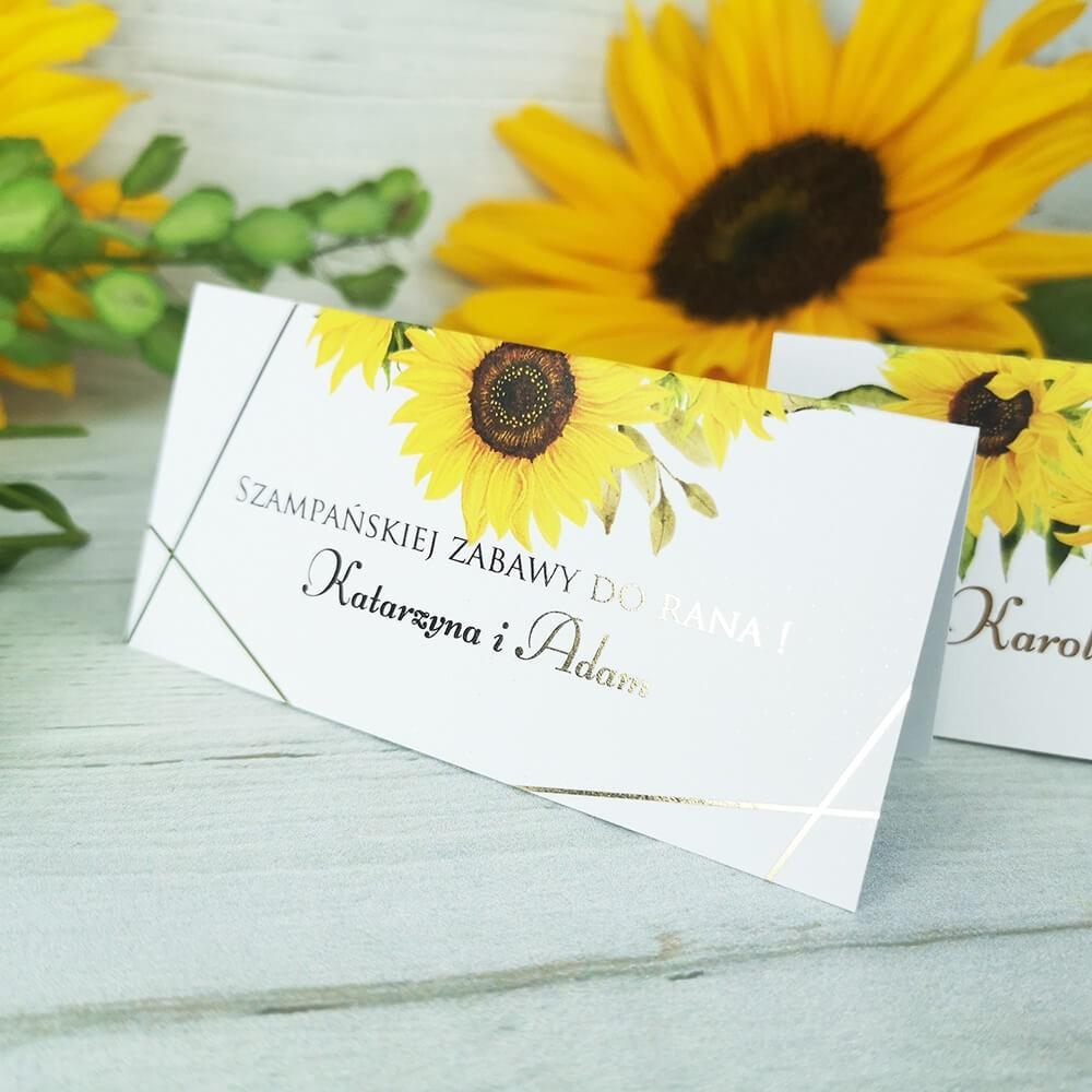 Wizytówka do rozmieszczenia gości weselnych z motywem słoneczników