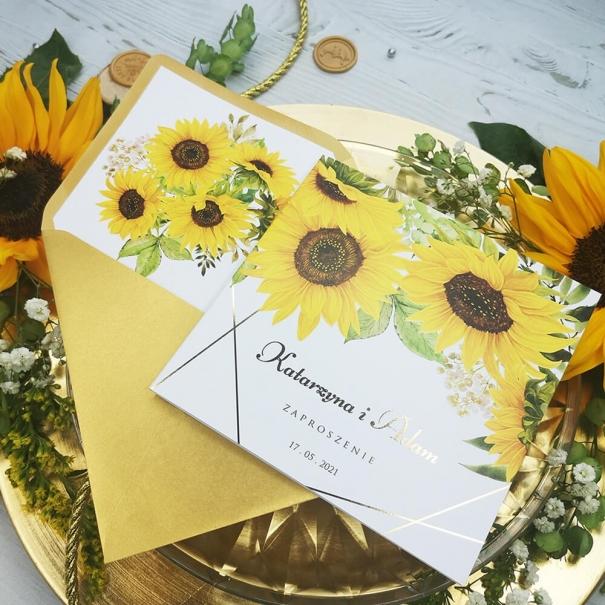 Rustykalne zaproszenia na ślub z motywem słoneczników