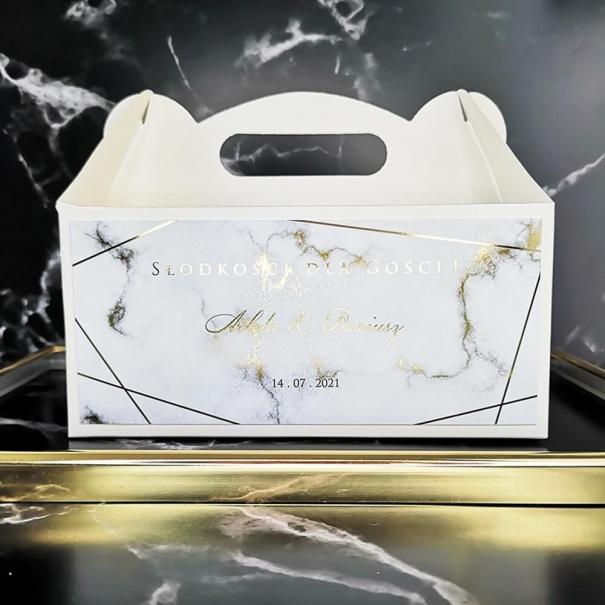 Pudełko personalizowane na ciasto weselne, podziękowanie dla gości
