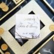 Pudełeczko podziękowanie dla gości weselnych, złocone napisy i grafika marmuru