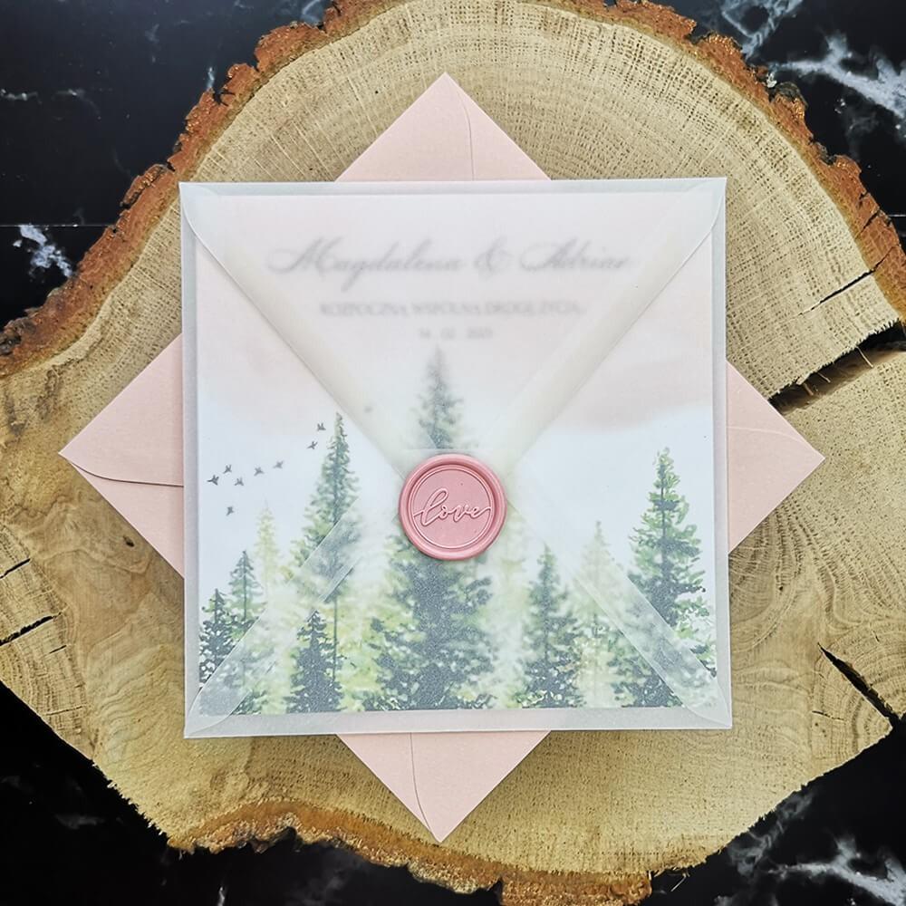 Ręcznie malowane zaproszenie weselne z motywem lasu