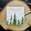 Ręcznie malowane zaproszenie ślubne z motywem lasu