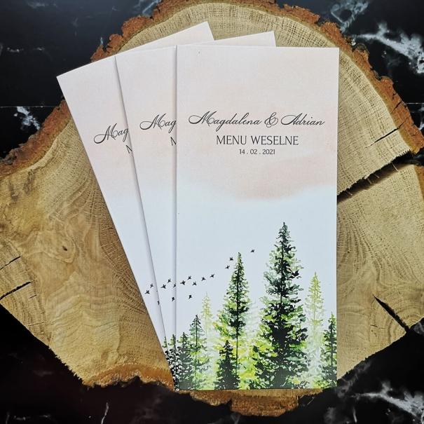 Karta menu na wesele z motywem lasu