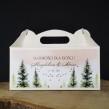Pudełko cukiernicze na ciasto z motywem lasu i personalizacją