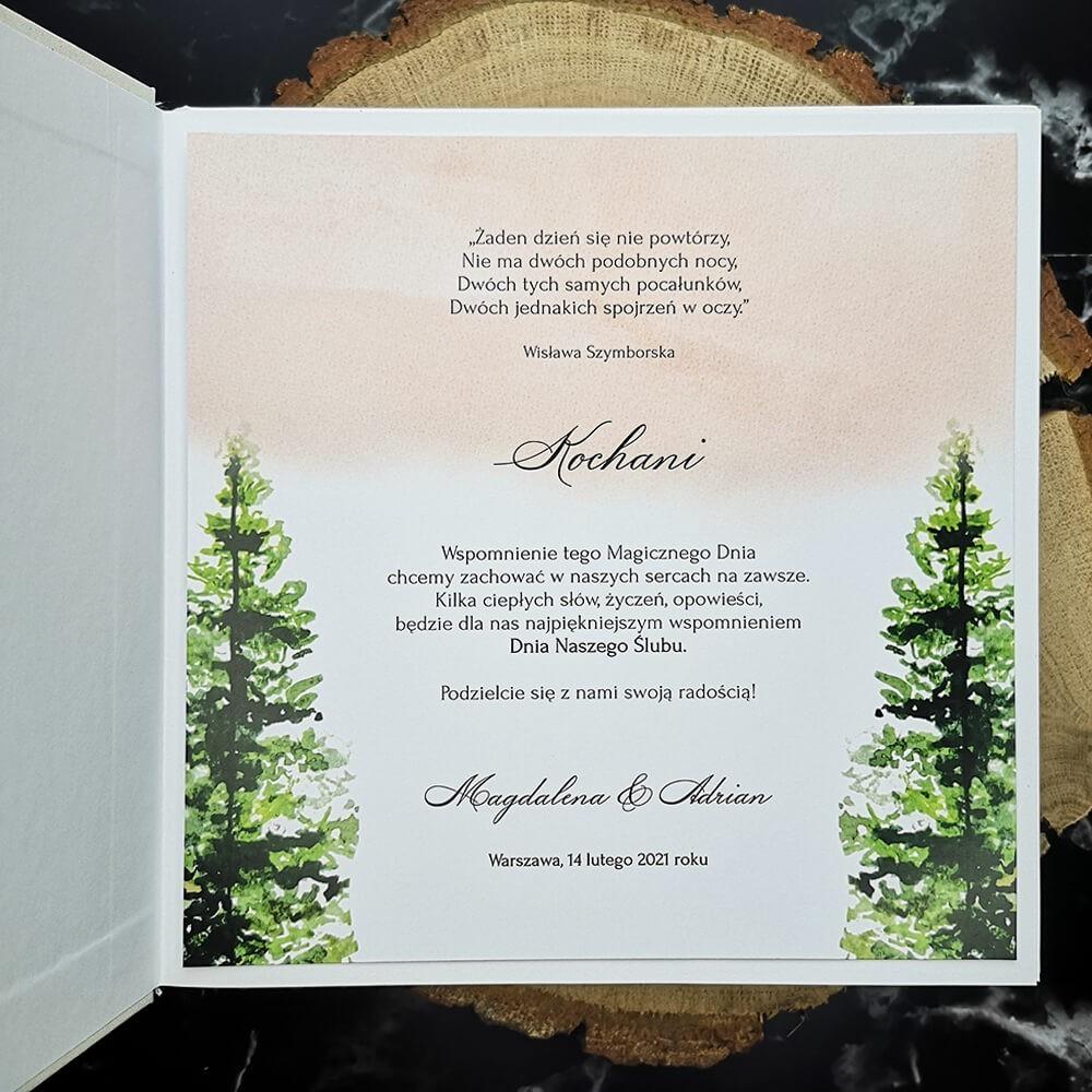 Personalizowana pierwsza strona księgi wpisów gości z grafika lasu