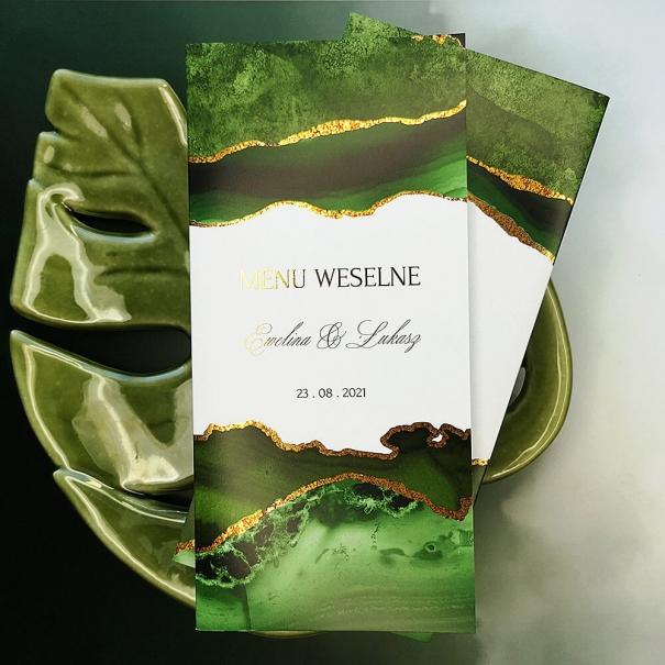 Karta menu weselnego zielono złota otwierana