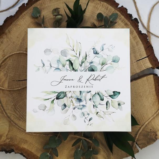 Tanie biało zielone zaproszenie na ślub i wesele z motywem eukaliptusa