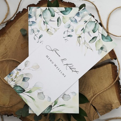 Karta menu weselne z eukaliptusem i personalizowaną treścią