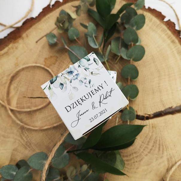 Pudełeczko podziękowanie dla gości na słodycze z motywem eukaliptusa