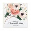 Nowoczesna księga gości weselnych z kwiatami oraz geometrycznymi liniami