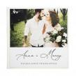 Biała perłowa księga gości ze zdjęciem narzeczonych i personalizowaną treścią