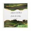 Zielono złota modna księga gości weselnych z personalizacją