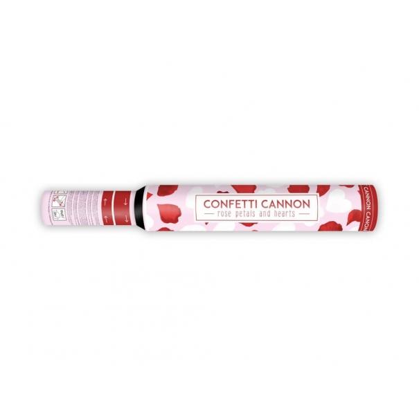 Tuba konfetti strzelająca na ślub biało czerwone płatki