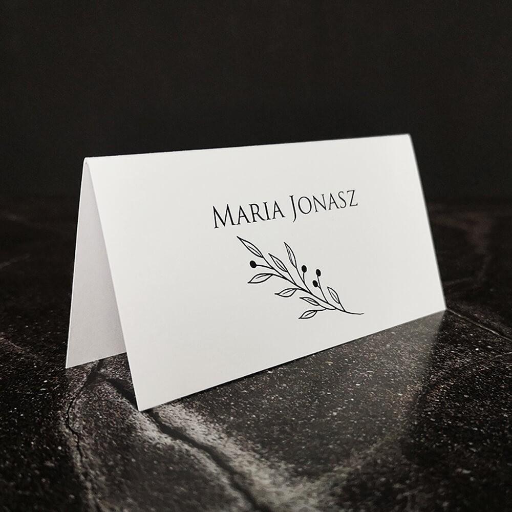 Minimalistyczna biała wizytówka weselna