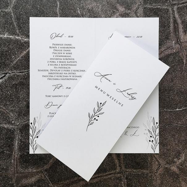 Karta menu weselnego z godzinami w białym kolorze z gałązką