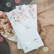 Karta menu weselne z godzinami. Posrebrzane napisy z różami