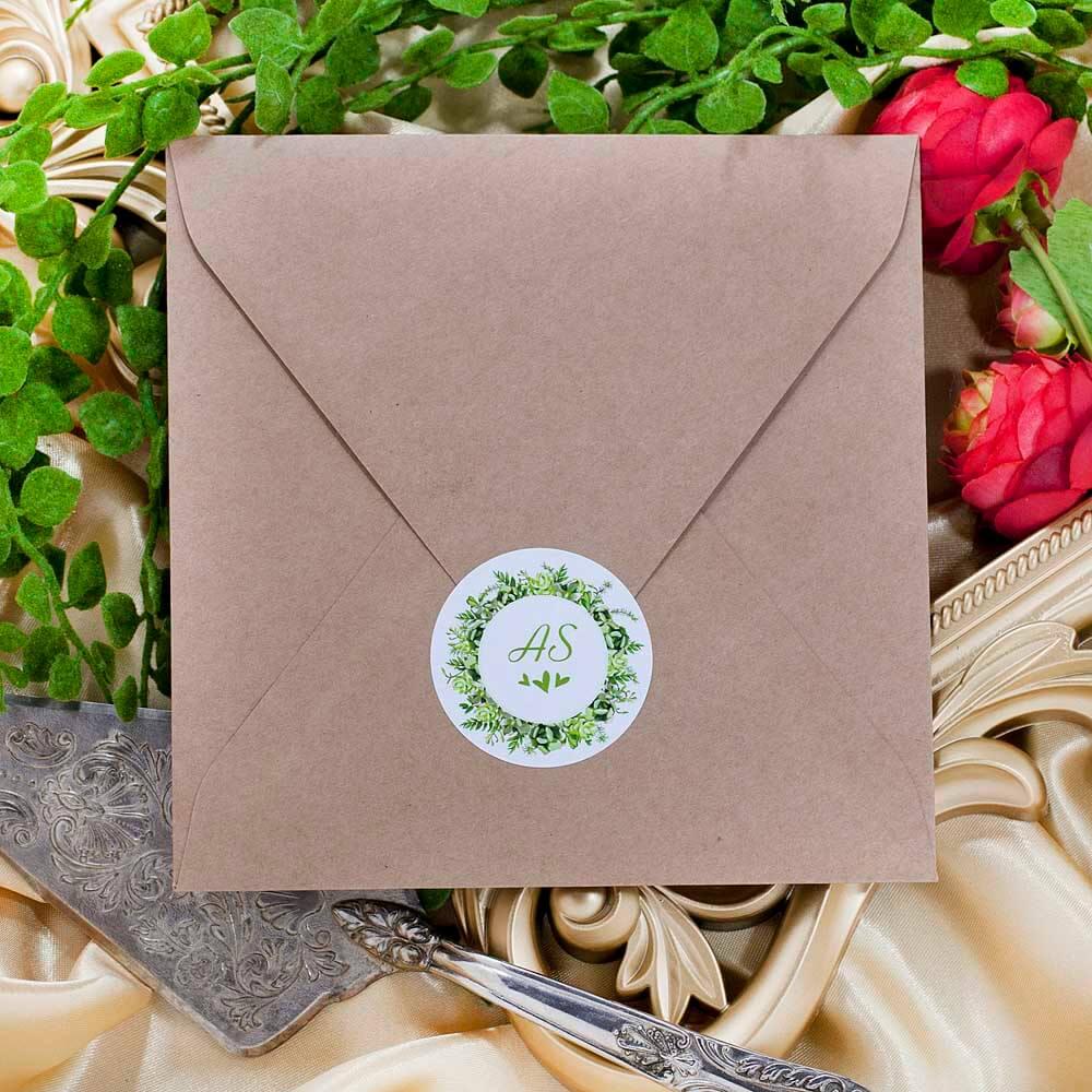 naklejki koperty ślubne styl greenery