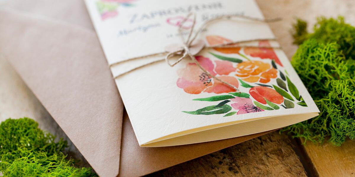piękne kwiaty wydruk na zaproszeniu