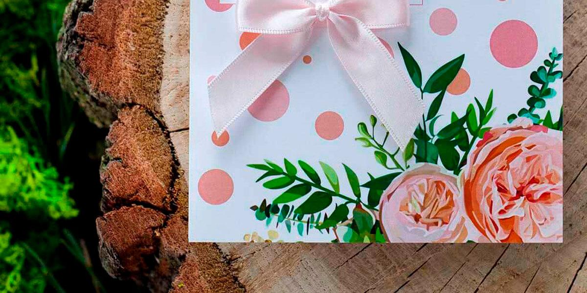 kwiecisty styl zaproszeń weselnych