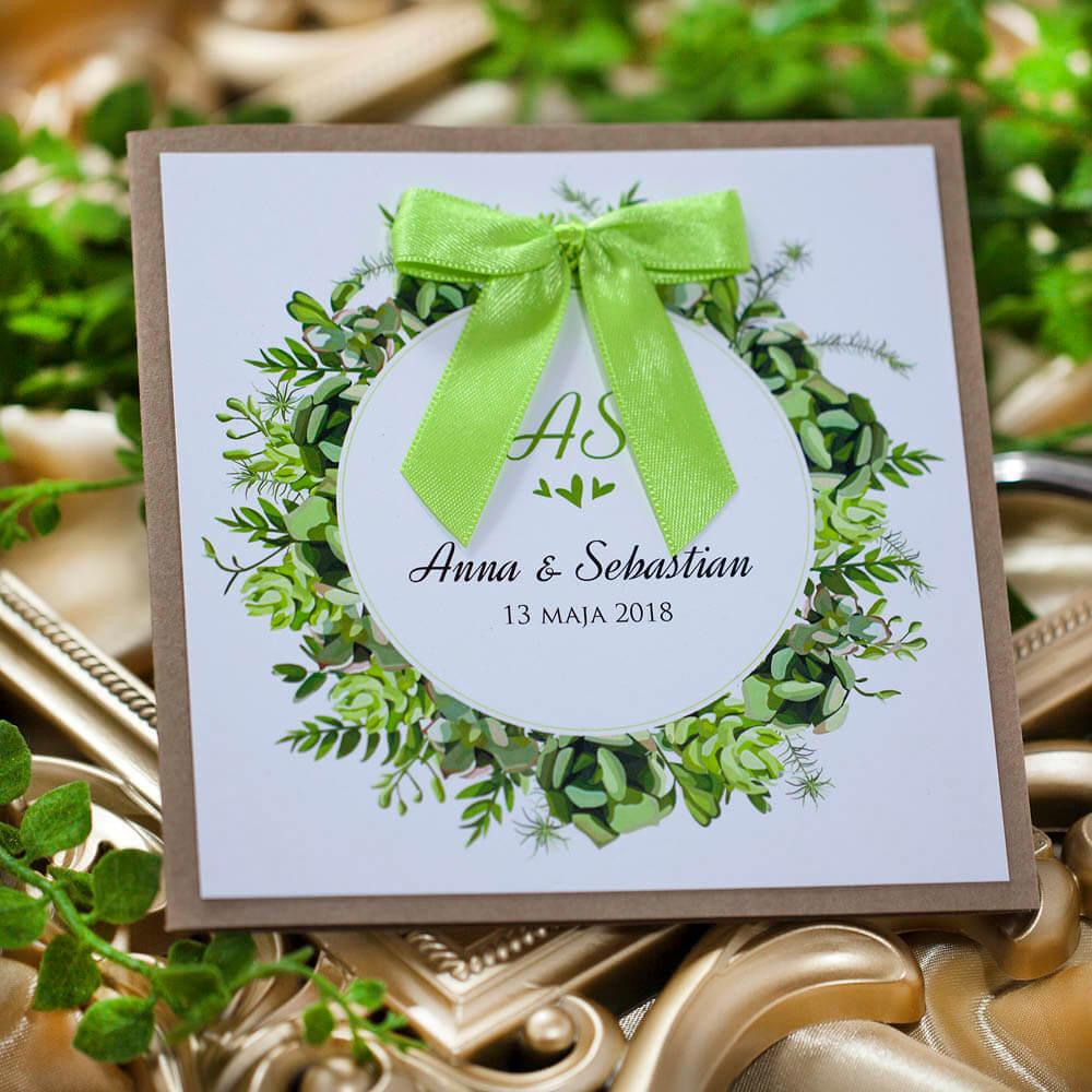zaproszenie na ślub greenery