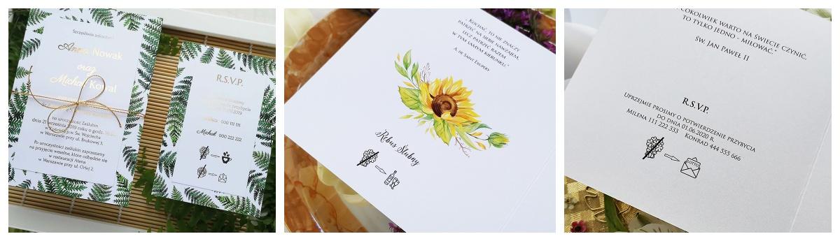 modne piktogramy na zaproszenia ślubne